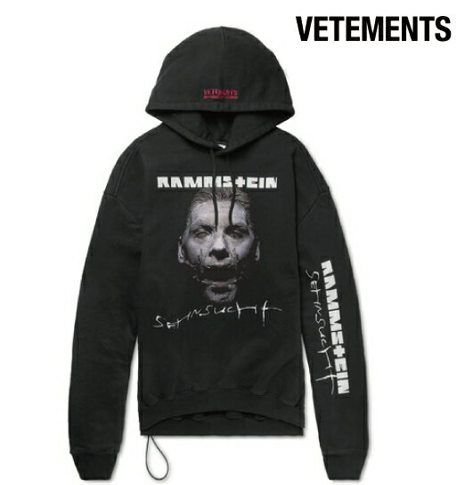 Vetements ヴェトモン 2017-2018年秋冬新作 Rammstein Oversized Printed Cotton-Blend Jersey Hoodie メンズ パーカー トップス