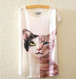 【送料無料】猫 Tシャツ 猫柄 レディース 白 半袖 アニマル 個性的 ユニーク リアル ねこ ネコ 雑貨 グッズ 猫雑貨 猫グッズ ファッション プレゼント