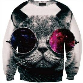 猫 猫柄 プルオーバー スウェット トレーナー トップス レディース 長袖 部屋着 レジャー かわいい ユニーク 個性的 ねこ ネコ 雑貨 グッズ プレゼント