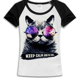 猫 猫柄 Tシャツ ラグラン トップス レディース 半袖 かわいい ユニーク 個性的 ねこ ネコ グッズ 雑貨