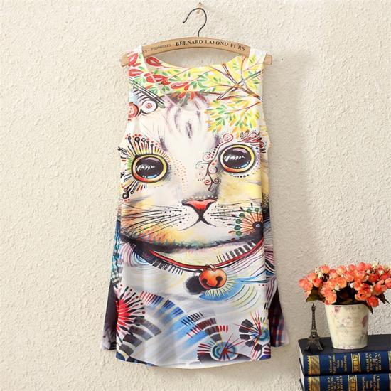 猫 猫柄 tシャツ レディース 個性的 ユニーク かわいい タンクトップ ノースリーブ ねこ ネコ ファッション 雑貨 グッズ プレゼント