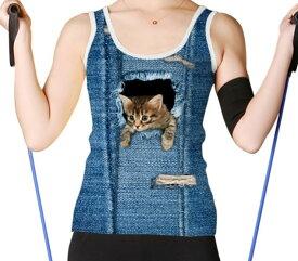 【送料無料】猫 猫柄 タンクトップ ノースリーブ Tシャツ レディース トップス スポーツウェア ランニングウェア ユニーク 個性的 リアル ねこ ネコ グッズ 雑貨 プレゼント 誕生日 ギフト