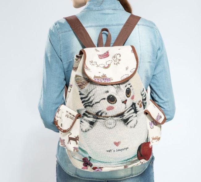 レディース リュック リュックサック バックパック 猫 猫柄 かわいい ショルダーバッグ 大きめ サイズ ねこ ネコ グッズ 雑貨