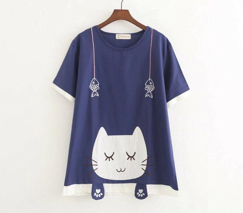 【送料無料】猫 猫柄 Tシャツ シャツ レディース トップス かわいい ゆったり 大きめ サイズ ユニーク 個性的 ネイビー ねこ ネコ グッズ 雑貨 ファッション