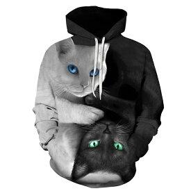 猫 猫柄 パーカー スウェット プルオーバー レディース ユニーク 個性的 ねこ ネコ グッズ 雑貨