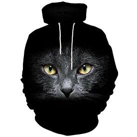 猫 猫柄 パーカー フーディ スウェット レディース 個性的 ユニーク ねこ ネコ グッズ 雑貨