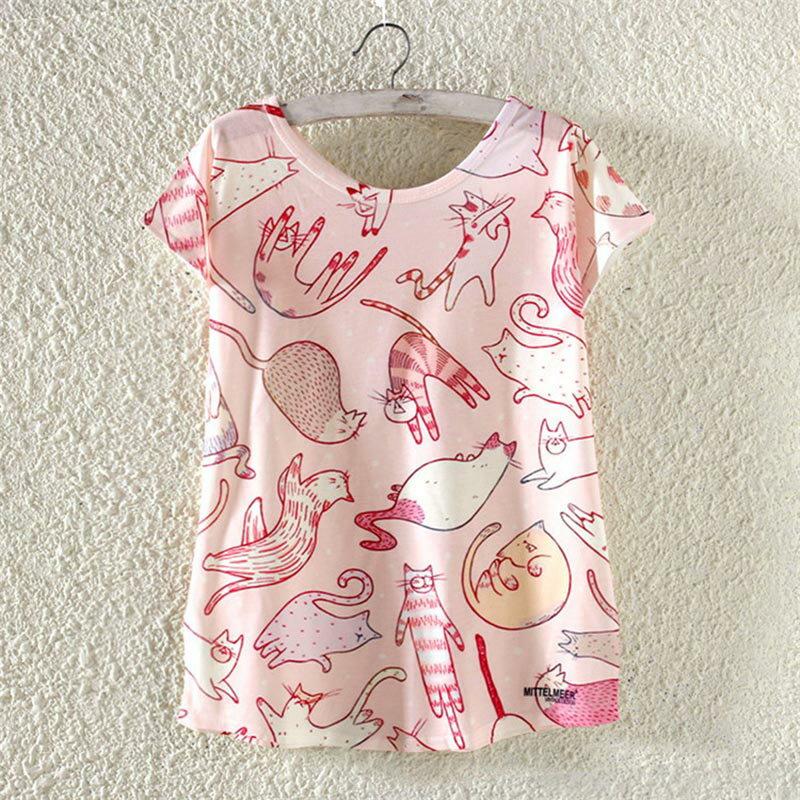 【送料無料】猫 Tシャツ レディース 猫柄 かわいい トップス 半袖 ねこ ネコ グッズ 雑貨