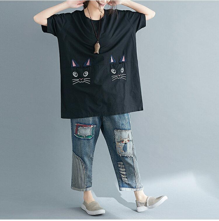 【送料無料】猫 猫柄 Tシャツ ロング トップス ゆったり かわいい デザイン ねこ ネコ グッズ 雑貨