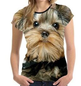 【送料無料】犬 ヨーキー ヨークシャテリア Tシャツ レディース トップス かわいい ユニーク 個性的 リアル いぬ イヌ グッズ 雑貨