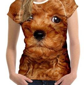 【送料無料】犬 犬柄 プードル Tシャツ レディース トップス かわいい ユニーク 個性的 リアル いぬ イヌ グッズ 雑貨