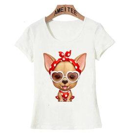 【送料無料】犬 犬柄 チワワ Tシャツ レディース かわいい ユニーク おしゃれ いぬ イヌ ファッション 雑貨 グッズ