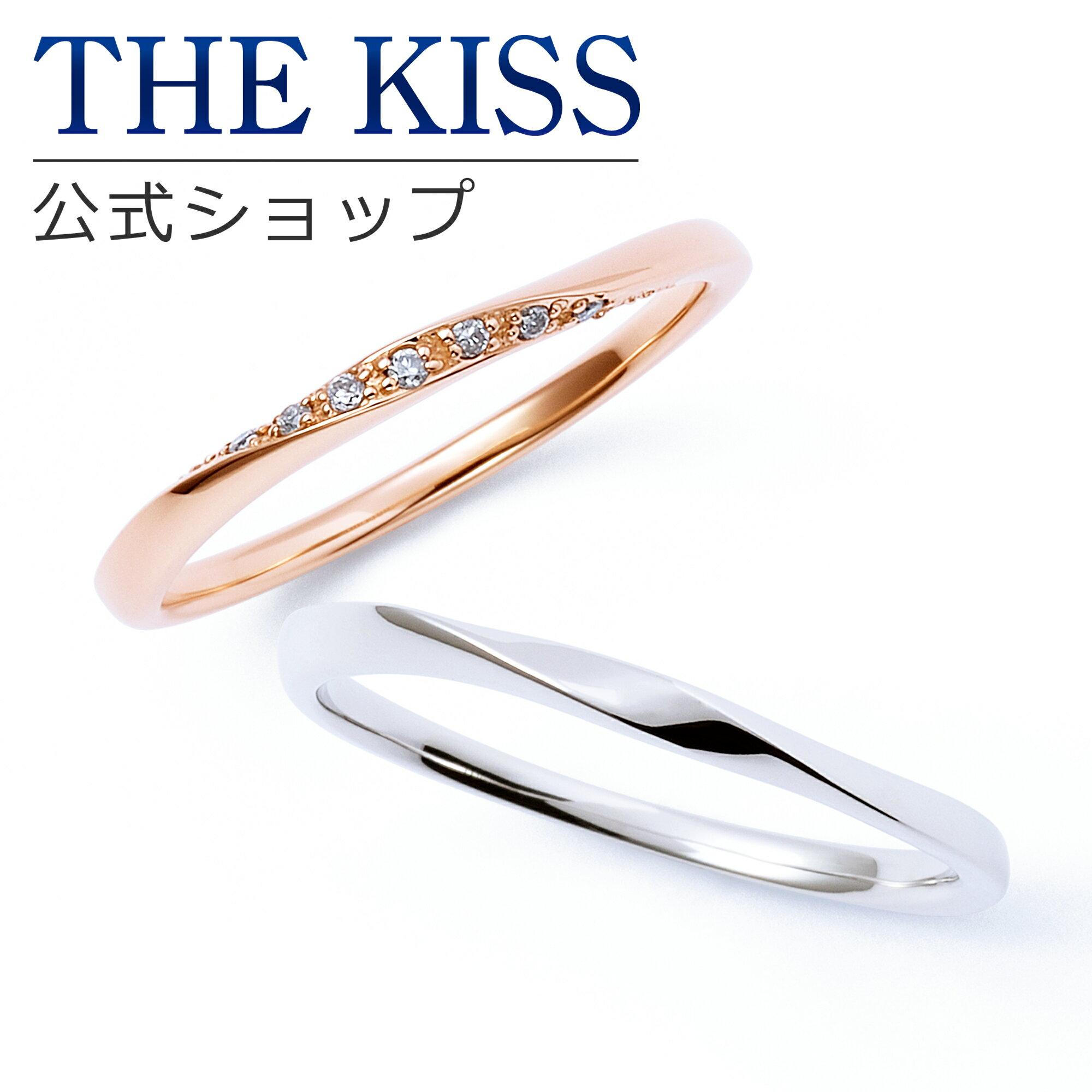 【あす楽対応】【送料無料】【THE KISS sweets】【ペアリング】 K10ピンク&ホワイトゴールド ダイヤモンド ペアリング☆ ゴールド ペア リング 指輪 ブランド GOLD Pair Ring couple