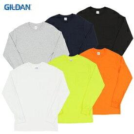 GILDAN 2XL ポケット付き ロングスリーブ Tシャツ ビッグサイズ 大きい XXL ロンT ポケティー ポケットロンティー 蛍光 ネオンカラー レトロ ダンス 無地ボディー メンズ レディース 長袖