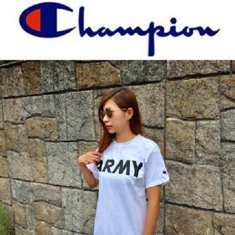 Champion チャンピオン Ladies ARMY Tシャツ アーミー プリント コットン ミリタリー レディース KIDS キッズ