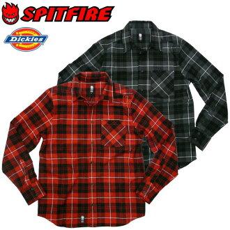 SPITFIRE(沙坑火)×DICKIES(Dickies)协作法兰绒衬衫长袖子检查衬衫休闲溜冰者