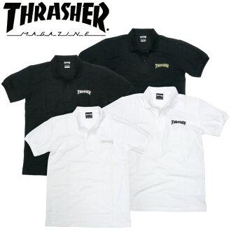 THRASHER(surassha)小鹿开领短袖衬衫短袖标识刺绣白黑色溜冰者时装POLO SHIRT
