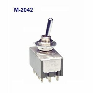 在庫品 NKKスイッチズ M-2042 4極双投 機能動作<ONーON>電流容量6A125V AC 日本開閉器 基本レバー形トグルスイッチ はんだ端子
