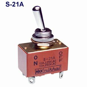在庫品 NKKスイッチズ S-21A 2極単投 端子はんだ 抵抗負荷AC25V15A 規格:UL/CSA取得日本開閉器 小型トグルスイッチ
