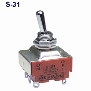 在庫品 NKKスイッチズ S-31 3極単投 端子はんだ 抵抗負荷AC125V25A 規格:UL/CSA取得 日本開閉器 小型トグルスイッチ