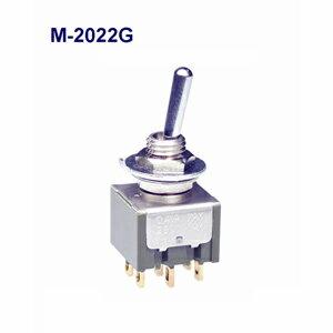 在庫品 NKKスイッチズ M-2022G 2極 機能動作<ONーON> 電流容量0.4VAMAX 28VMAX 日本開閉器 基本レバー形トグルスイッチ 微小電流用 はんだ端子