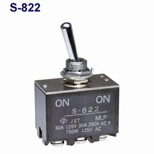 在庫品 NKKトグルスイッチ S-822 2極双投 端子ねじ 抵抗負荷AC125V30A 規格:UL/CSA取得 日本開閉器 太電流用小型トグルスイッチ