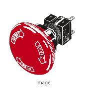 在庫品 オムロン A165E-M-02 非常停止用押ボタンスイッチφ16 プッシュロックターンリセット 操作部赤色φ40 矢印文字白 接点構成2b はんだづけ端子