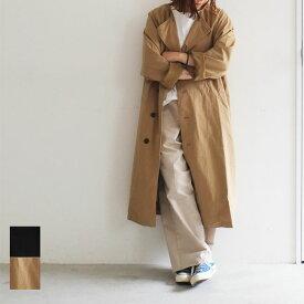 【送料無料】Bagsy バグジー コットンツイルノーカラーコート ゆったり オーバーサイズ 軽い アウター コート ロング丈 インナーダウン ゆったり 大きめ 重ね着