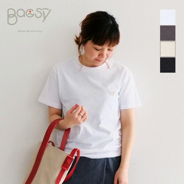 【メール便OK】Bagsy バグジー ワッペン Tシャツ レディース 半袖 cotton コットン 無地 ワンポイント 透けない カットソー ティーシャツ