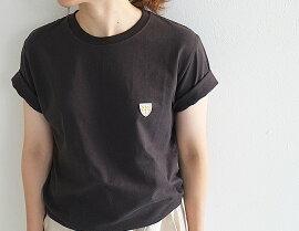 【メール便OK】BagsyバグジーワッペンTシャツレディース半袖cottonコットン無地ワンポイント
