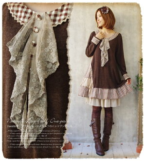Floral lace scarf one piece ladies includes quivering and shaking like classy * check pattern on the Acme a stylish knit one-piece