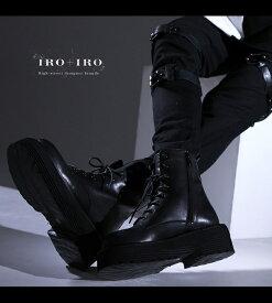 シューズ ブーツ ショートブーツ 厚底 ヒール ユニセックス レースアップ 黒*Favoriteオリジナル*足元で決める+。着回しIRO+IRO ヘビロテレースアップブーツ ブラック【IRO+IRO】【2020年12月新作中旬】