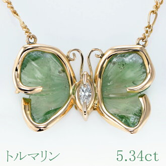 ★It is 3,000 yen OFF ★ tourmaline green tourmaline K18 necklace 5.34ct D 0.1ct tourmaline by use of coupon