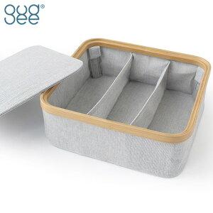 GUDEE 収納ボックス フタ付き おしゃれ 仕切りケース 3分割 仕切りボックス 折りたたみ 収納カゴ 収納 竹 KIM Storage box with lid 3section GudeeLife