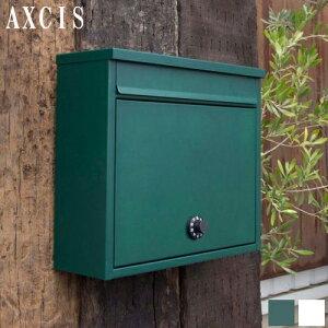 ワイドポスト グリーン ホワイト 郵便ポストダイヤル式 壁掛け 壁付 置き型 タテ開き A4サイズ対応 ポスト おしゃれ 郵便受け スチール ビス付き アクシス