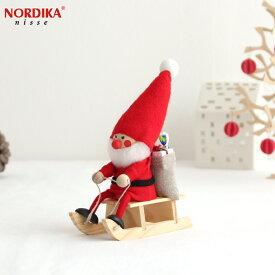 ノルディカニッセ そりに乗ったサンタ フェルトシリーズ 赤 NORDIKA nisse クリスマス 雑貨 木製 人形 北欧 NRD120072