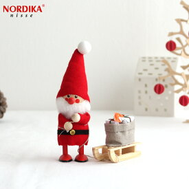 ノルディカニッセ そりを引いたサンタ フェルトシリーズ 赤 NORDIKA nisse クリスマス 雑貨 木製 人形 北欧 NRD120060