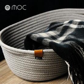 moc モック ロープストレージ ロープバスケット M MOC-RPBM(ストレージ バスケット コットンロープ 収納バスケット 衣類 収納 かご 布 おしゃれ 北欧 カゴ グレー 収納かご 楕円形)
