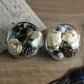ソラフラワー グラスボール(クリスマス 玄関 ガラス 花 おしゃれ 造花 ナチュラル グリーン 北欧 インテリア 雑貨 アンティーク かわいい フレグランス)