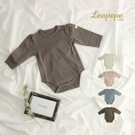 Leapepe レアペペ ボディスーツ CREW LONG SLEEVE 37-0006(ベビー ボディースーツ 赤ちゃん 肌着 ベビー服 ロンパース 春 長袖 乳児 冬 男の子 女の子 70 おしゃれ かわいい)