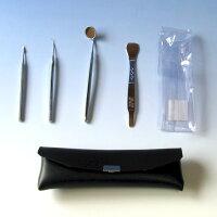 デンタルツール歯石4点セットKC-327収納ケース付タバコのヤニ、歯石の除去、口臭予防などに家庭で歯の予防ができる本物ツールT&TMeistarステンレス・白銅製