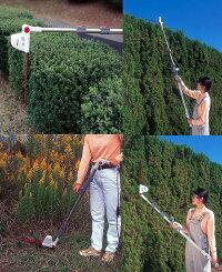 【送料無料】ムサシMr.ポールバリカンP-2001伸縮式電動バリカン最長2.7m高い庭木の剪定、生垣の刈込み、草刈りに