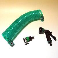 ワンタッチ式・伸縮ホース7.5mW-0633散水ノズル付で取り付け簡単!お庭の水撒き、草・花の水やり、散水作業に