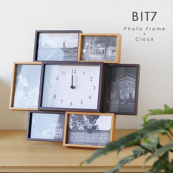 BIT7・ビット7 フォトフレーム&クロック【magnet シンプル ナチュラル 木製風 ウッド 大きい 卓上 壁掛け】
