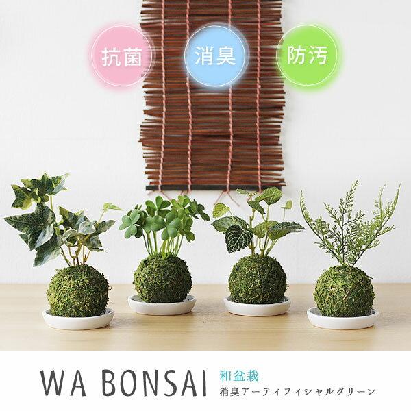 Wa Bonsai・和盆栽 消臭アーティフィシャルグリーン 苔玉タイプ【キシマ 消臭グッズ 空気清浄 造花 デオドラント 観葉植物】