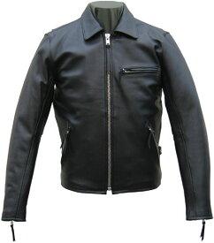 革ジャン カウスキン シングル襟付ライダース レザージャケット ブラック