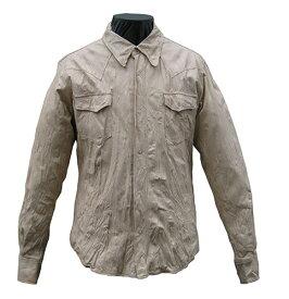 日本製 革ジャン カウスキン しわ加工(洗い) ウエスタンレザーシャツ ベージュ