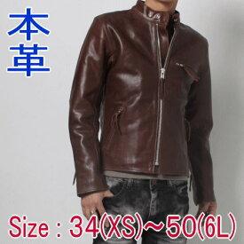レザージャケット 本革 フリーダム メンズ バイクウエア バイク用品 シングルライダース ブラウン スタンドカラー 革ジャン 大きいサイズ XS S M L LL 3L 4L 5L 6L 7L フリーダム P-1607