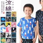 涼綿(すずめん)子供Tシャツ伸縮する綿クレープ素材のキッズTシャツ(3625)