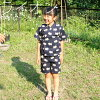 "Child service じんべえ / ""涼綿甚平"" top and bottom set (3417)"