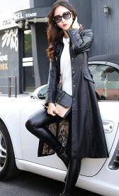 コート レザーコート トレンチコート ベルト付き レディース トレンチ ロングコート 赤 黒 カーキ 大きいサイズ